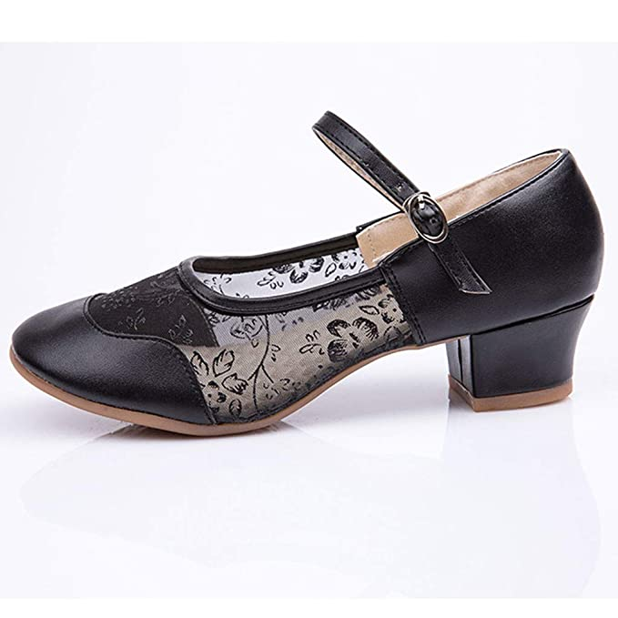 Bestow Hebilla de Gasa de Media Red para Mujer Zapatos Solos de Baile Latino Zapatos de Baile de Salsa Latina Salsa: Amazon.es: Ropa y accesorios