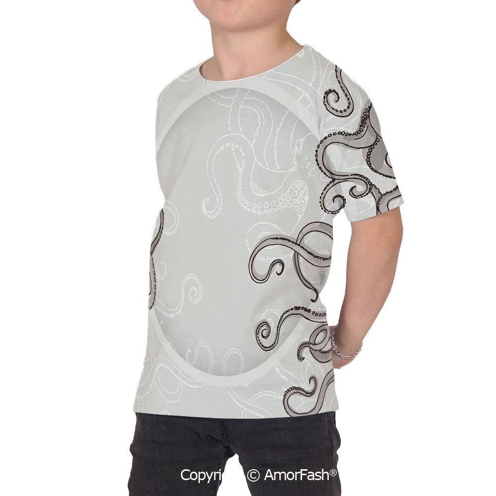 PUTIEN Kraken Decor Over Print T-Shirt,Boy T Shirt,Size XS-2XL Big,Fish Octopus Tentacl