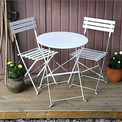 Juego de mesa de jardín Alessia, mesa de metal plegable con sillas a juego: Amazon.es: Jardín