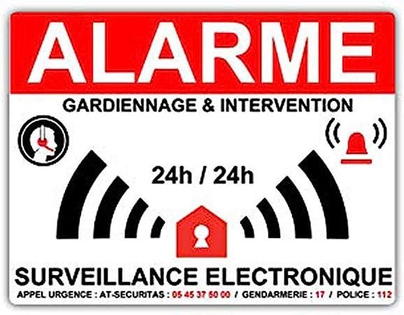 Stickers Alarme Maison Surveillance Electronique 8 X 6 Cm Amazon Fr Bricolage