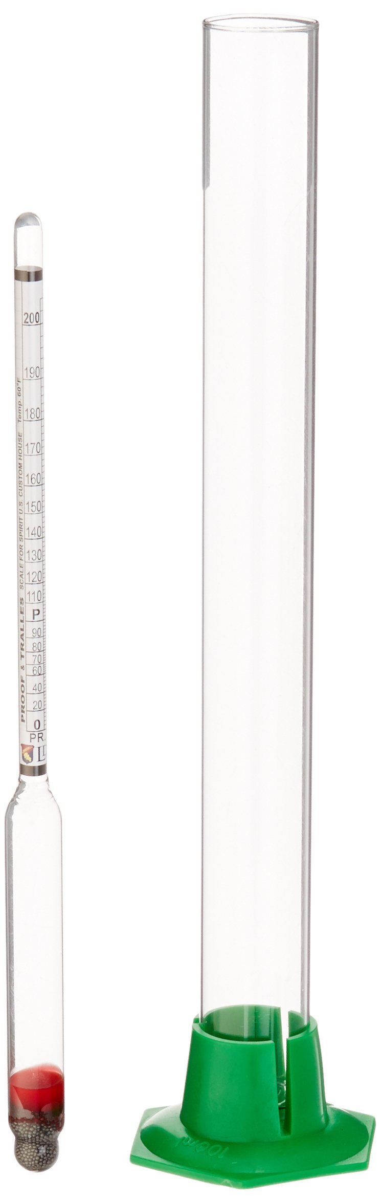 Naruekrit R3-XIKQ-AD0G Proof and Tralle Hydrometer with 12' Glass Test Jar