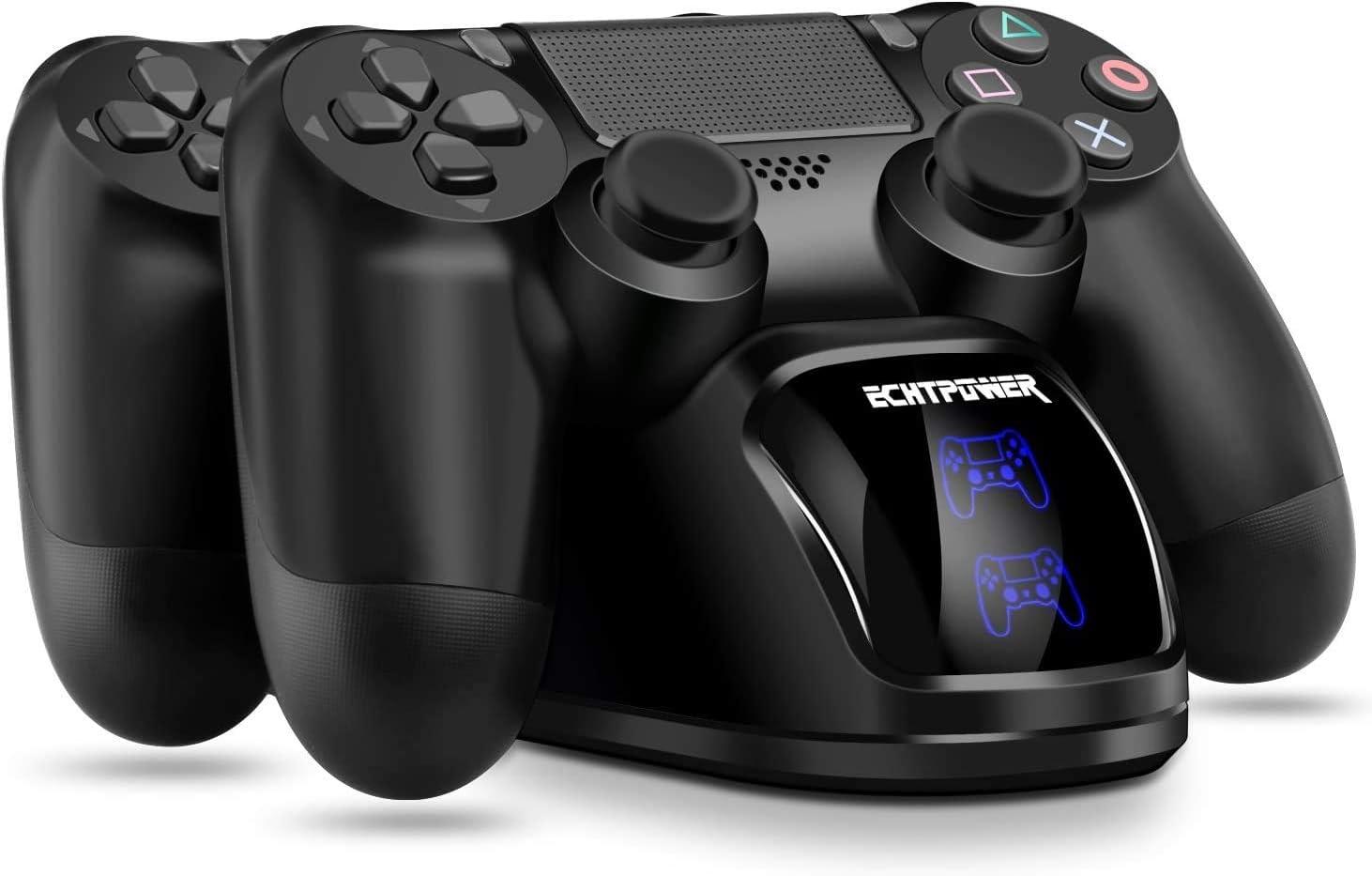 Cargador PS4 ECHTPower DualShock 4 Estación de Carga Soporte de Energía para Sony Playstation PS4 / Slim/Pro Controlador Inalámbrico con Cable de Carga y Elegantes LED (Azul&Naranja LED)