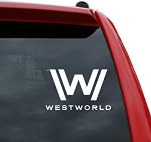 "Black Heart Decals & More Westworld Logo Vinyl Decal Sticker | Color: White | 5"" Tall"