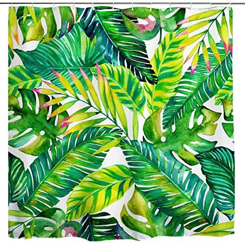 (BROSHAN Green Leaf Shower Curtain, Tropical Palm Leaf Banana Leaves Hawaiian Summer Nature Art Print, Plant Polyester Waterproof Fabric Bathroom Bath Decor Set with Hooks,72x72 Inch,)