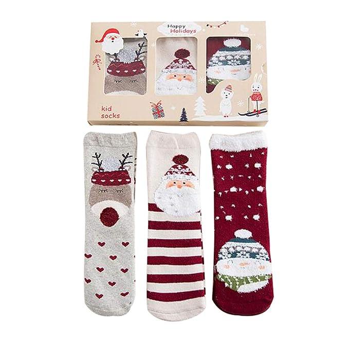 Fangcheng 3par/lote Navidad Calcetines de Algodón Divertido Santa Muñeco de Nieve Divertido Niños Calcetines de Arte Regalo de Navidad Calcetines de Algodón ...
