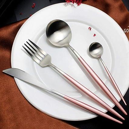 Bnmy 304 Acero Inoxidable Rosa Oro Mango Cepillado Cubertería Cuchara Oro Chapado Occidental Vajilla Palillos Cuchara