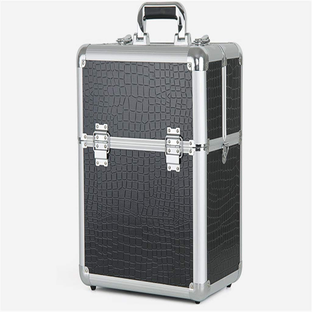 Sdcvopl Portable Travel Black Plaid Makeup Tattoo Display Box with Lock Suitcase Cosmetic Case Makeup Bag