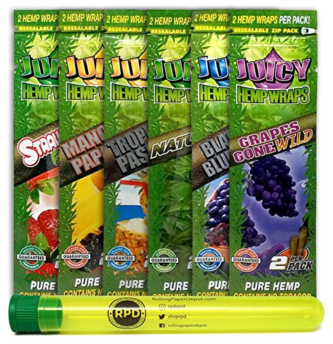 Bundle - 7 Items - Juicy Flavored Hemp Wraps Sampler (6 Flavors, 1 Pack of Each) with Rolling Paper Depot Doobtube - Cigar Rolling Papers Large
