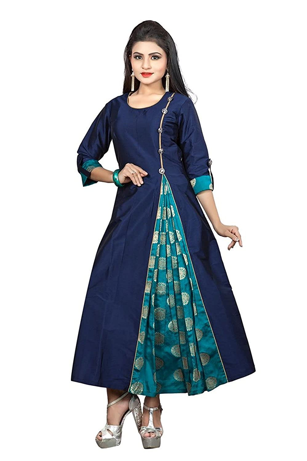 Buy Maahi Girls Blue Silk Ceremony Attractive Unique One Piece Designer Western Dresses Size L At Amazon In