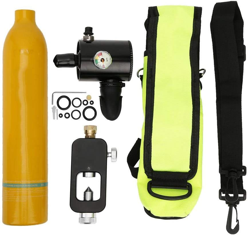 Focket Tanque de Buceo Portátil, 0.5L Aviación de Aluminio Mini Cilindro de Buceo Tanque de Oxígeno Respirador Subacuático Cilindro de Buceo Kit de Equipo de Buceo Snorkeling con Adaptador