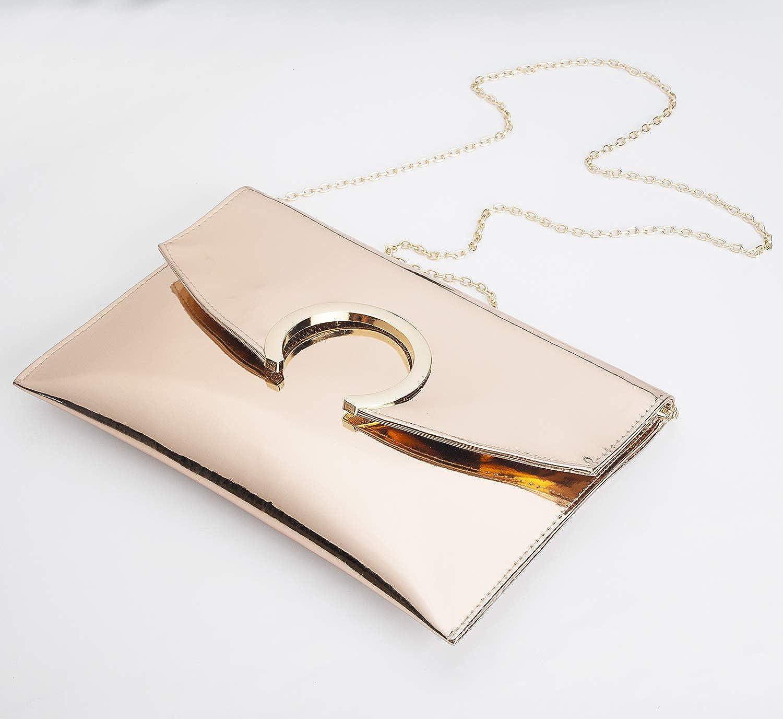 Womens Evening Bags Large Envelope Clutches Purse Metallic Patent Leather Wristlet Handbag