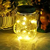 Solar Mason Jar Light, 20Led Glass Hanging Lantern, Outdoor String Lamp, Fairy Decoration for Home Party Garden (Warmwhite)