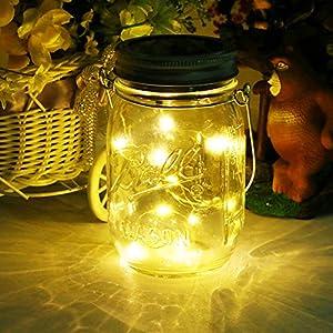 Solar Mason Jar Light ,LED Glass Outdoor Hanging Lantern, Decorative String Fairy Lamp for Garden