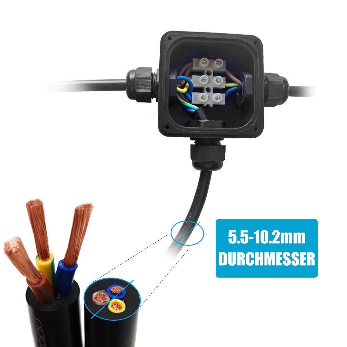 6 Pack Waterproof El/éctricos Exterior Conector Cable IP68 Impermeable cajas de conexi/ón de cables con 3 V/ías subterr/áneo cajas conexiones electricas para Cable Cajas de empalmes