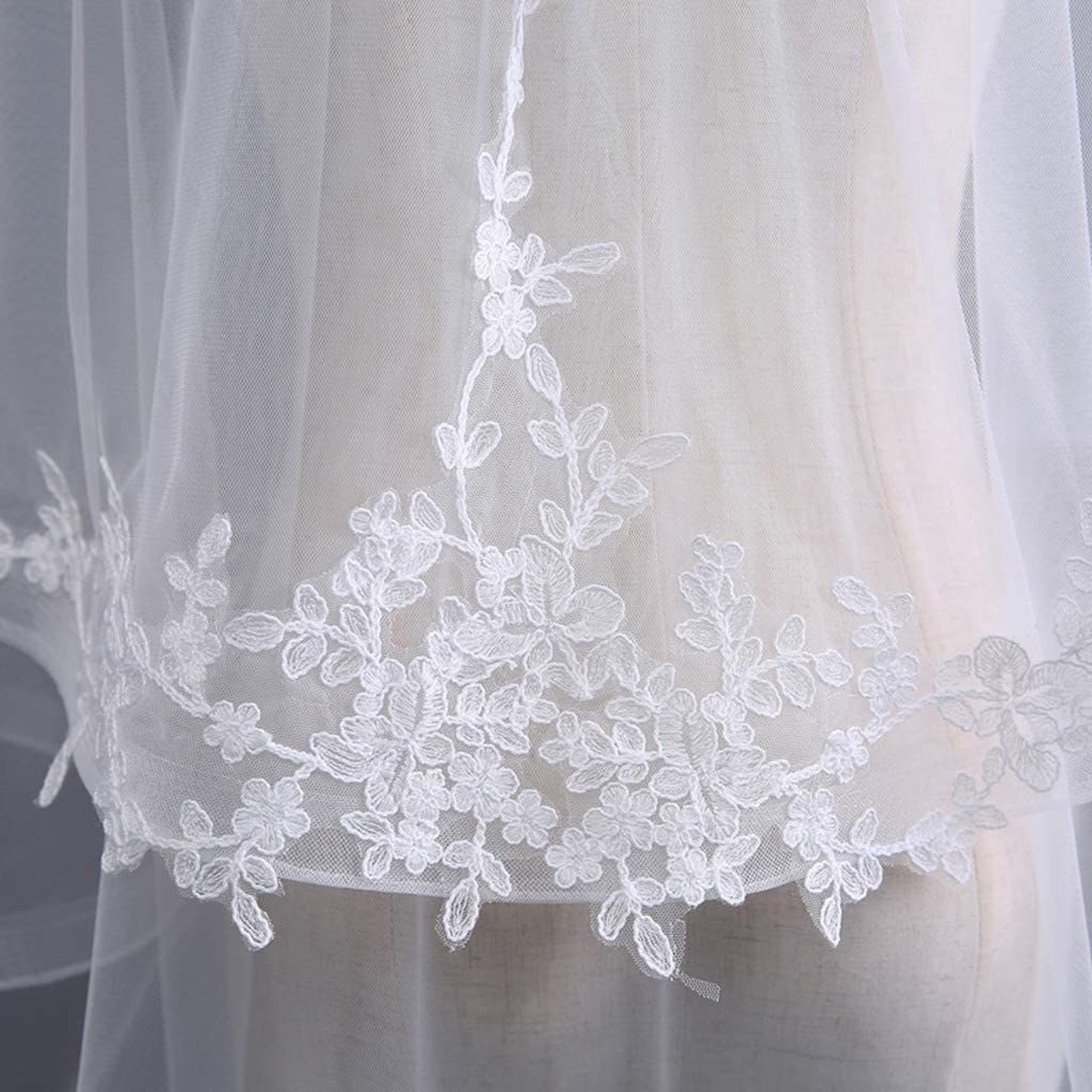 SimpleLife Womens 2 Tier Wedding Veil Leaves Applique Wide Wavy Trim Bridal Veil with Comb