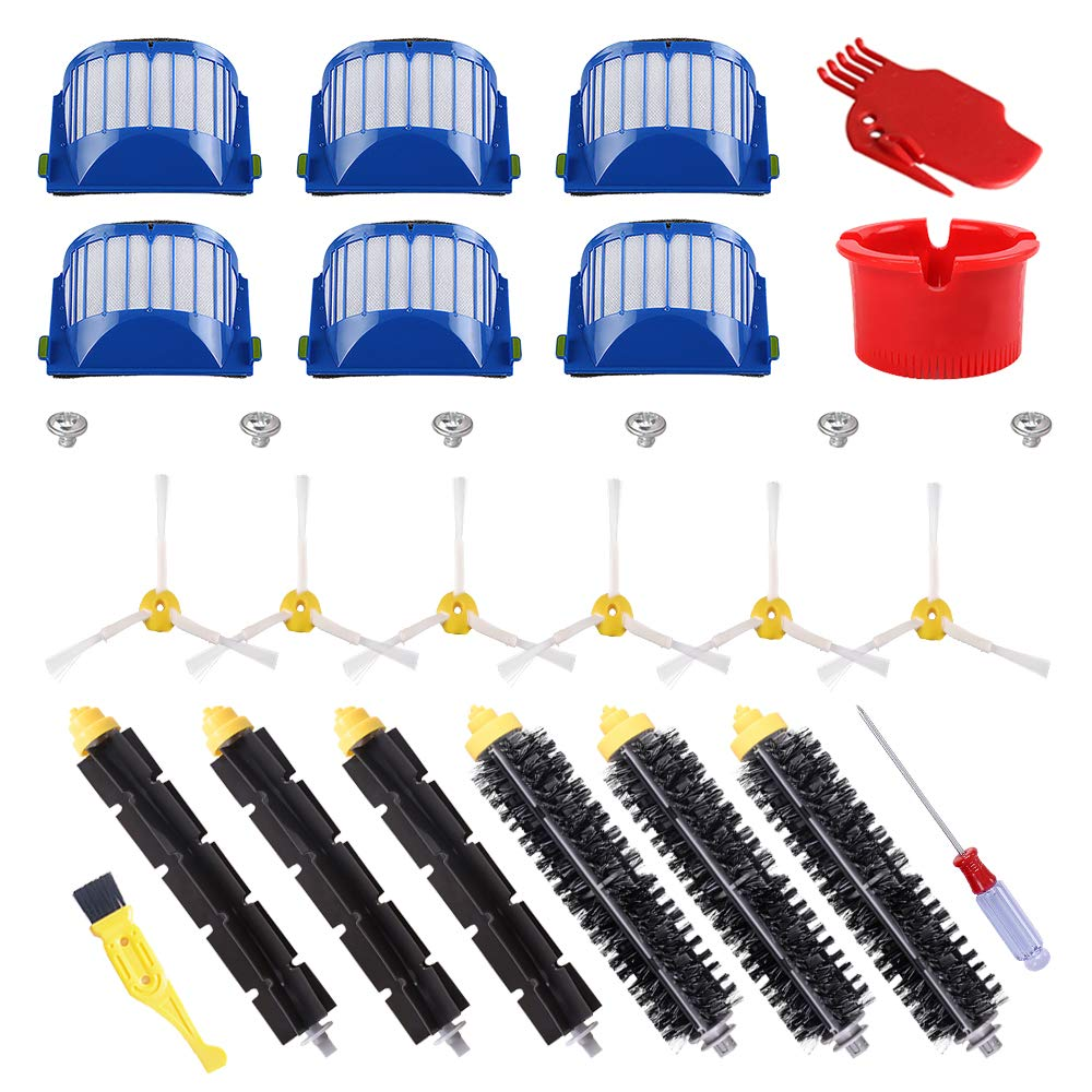 ECOMAID Replacement Parts Kit Bristle & Flexible Beater Brush & Armed-3 Side Brush & Filters for iRobot Roomba 600 Series 614 620 630 650 660 665 690 Vacuum Cleaner Accessory