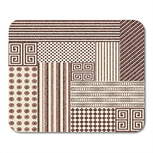 (Nakamela Mouse Pads Chintz Beige Indian Abstract Patchwork Pattern with Geometric Ornaments Vintage Boho Style Brown Carpet Mouse mats 9.5