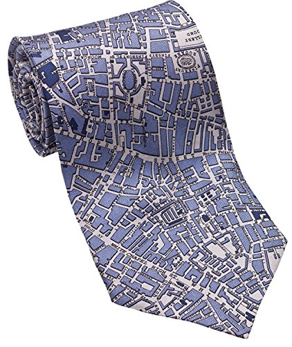 Silk Tie City Of London - Josh Bach Mens CIVITAS Map of London Silk Necktie Blue Grey, Made in USA