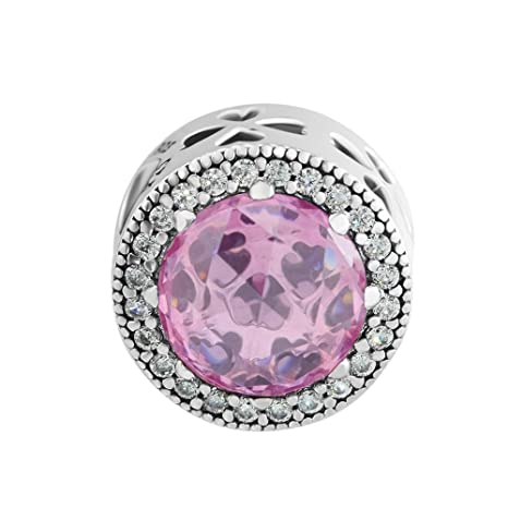 0e1e29424 CKK DIY Silver Beads Fits for Pandora Bracelet Authentic 925 Sterling Silver  Radiant Clover Pink CZ
