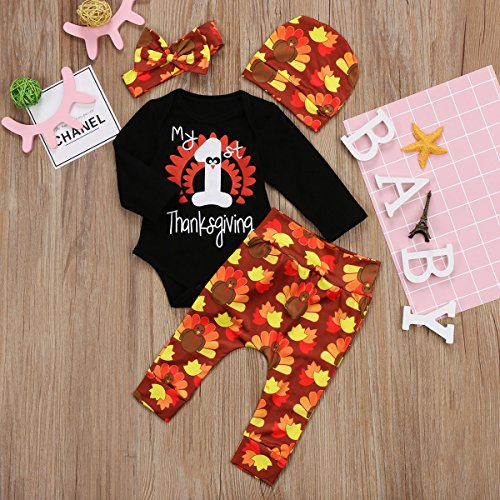 608b57f481d63 Miward Thanksgiving Outfit Newborn Baby Boy Girl Letter Print Romper Turkey  Print Pant Hat Headband 4pcs