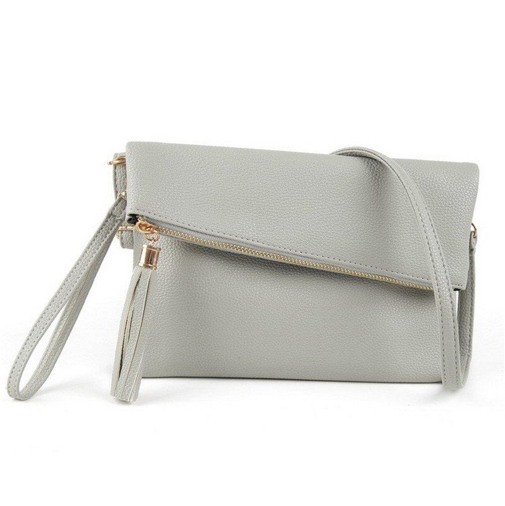 LIZHIGU Women's Leather Crossbody Bag Zipper Clutch Purse Fashion Shoulder Bag for Teen Girls Light Gray