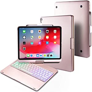 "BHUATO Keyboard Case Compatible iPad Pro 12.9"" 2018 360 Rotate 180 Flip Cover Wireless Bluetooth Backlit 7 Color Thin & Light 2 in 1 Smart Keyboard + Tablet Case, Supports Pencil 2nd Gen Charging"