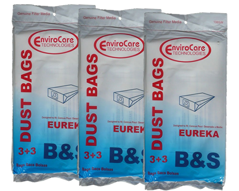 9 Eureka B & S Allergy Canister Vacuum Bags + 9 Filters, 1700 3700, Powerteam Series Vacuum Cleaners, 52329, 52329A-6, 52329-12, 54922-10, 1700 and 3700, 1780A