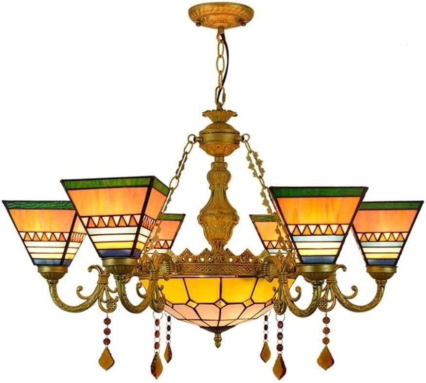 Retro Square Tiffany Style Chandelier, Stained Glass Pendant Hanging Light Fixture, Living Room Bedroom Hotel Dining Room Ceiling Lamp, E27, No Bulbs, 110-240V,6