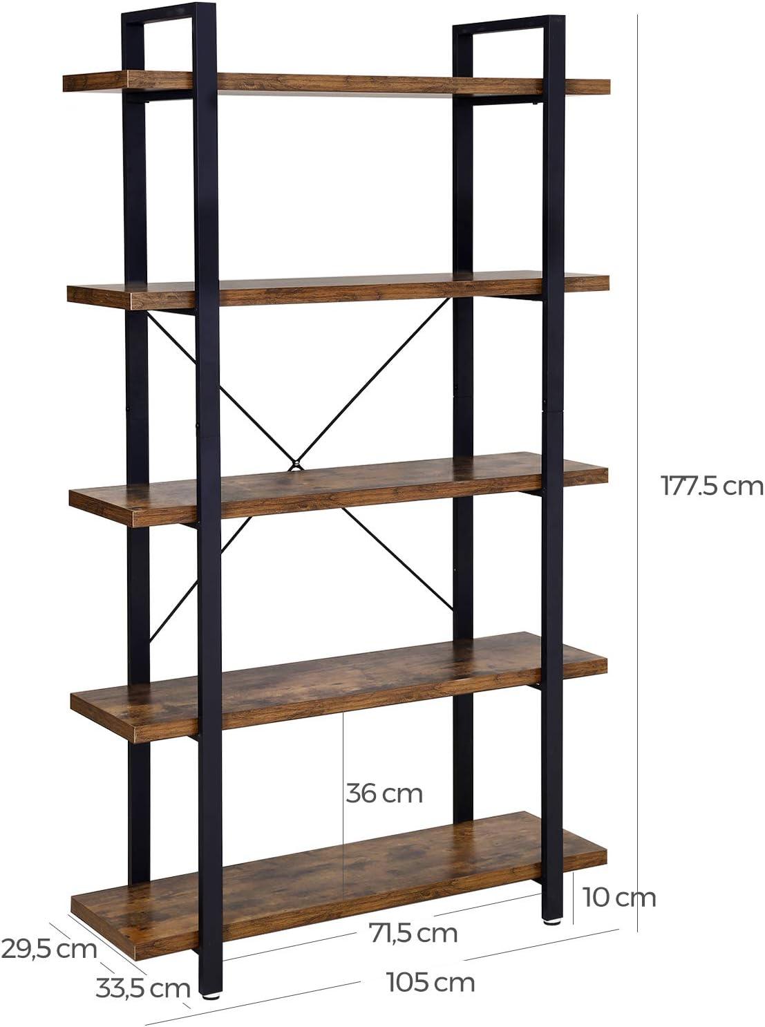 Greige e Nero LLS055B02 VASAGLE Libreria a 5 Ripiani Scaffale in Stile Industriale Facile da Montare Portaoggetti Stabile Ufficio per Soggiorno Camera da Letto