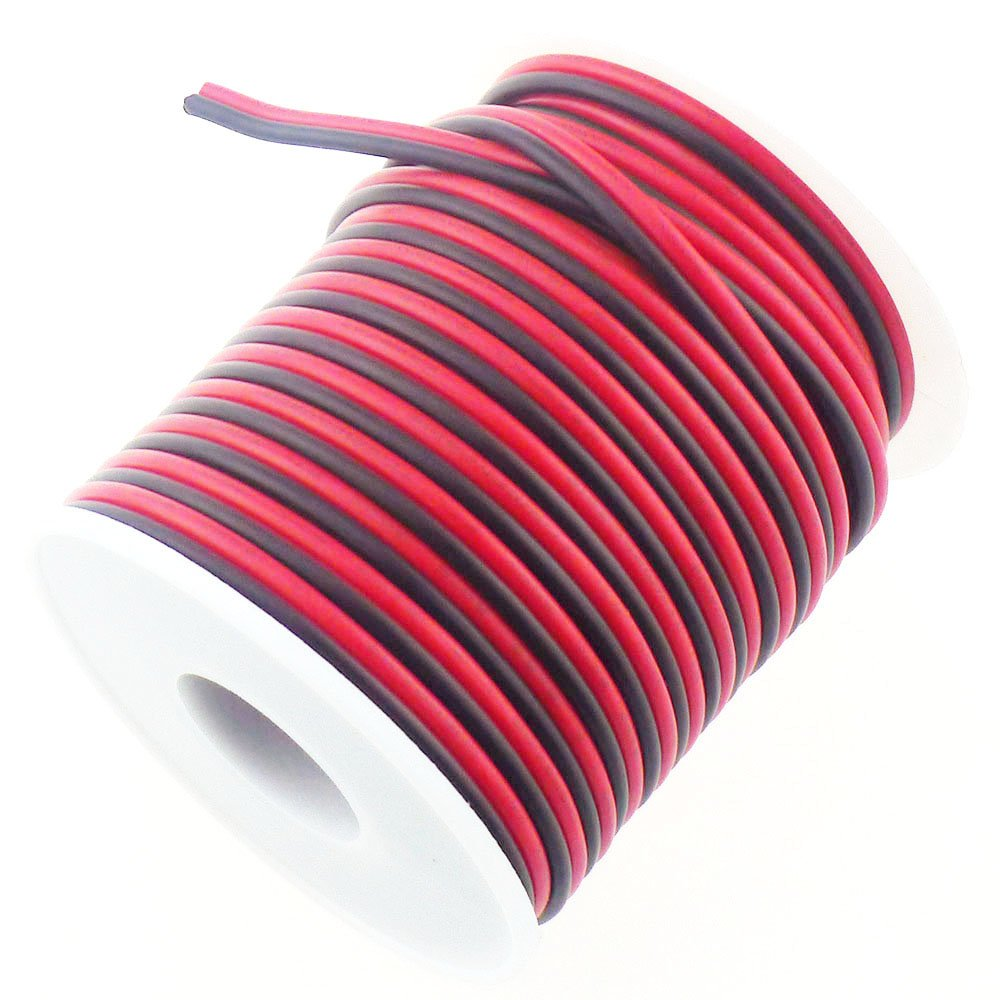 RGBSIGHT 40FT 18 Gauge Single Color LED Strip Extension Cable 18AWG 2pin 2 Color Red Black Stand Wire Conductor for LED Ribbon Lamp Tape Lighting (40 Feet per Spool) RGBSIGHT INC RGBSIGHT-1032