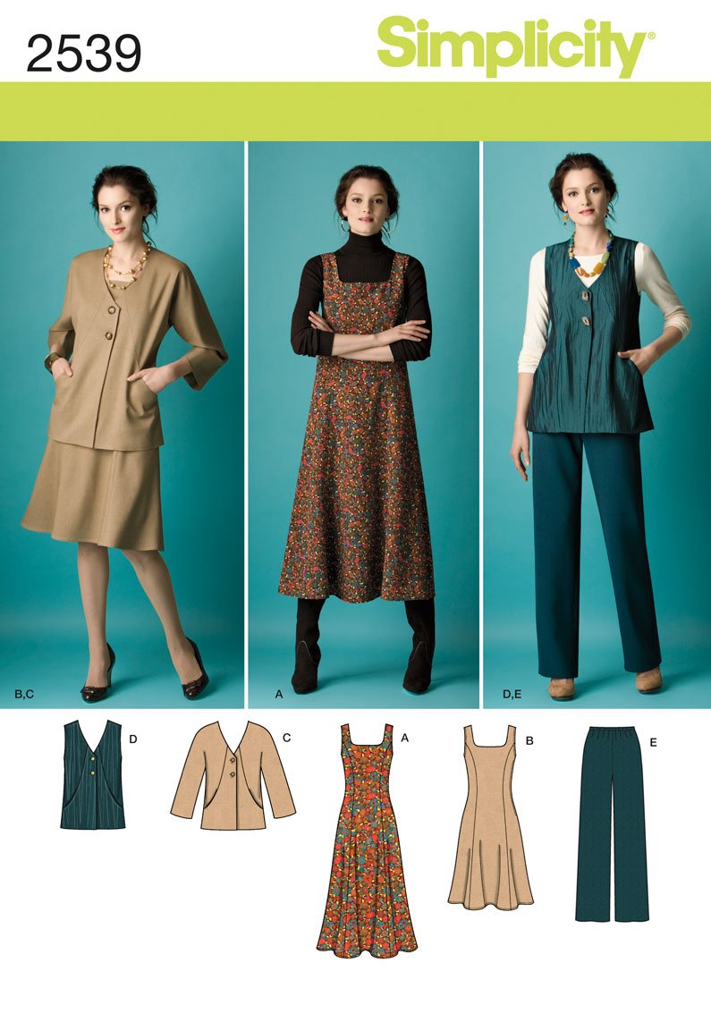 Amazon.com: Simplicity Pattern 2539 Misses Jumper in 2 Lengths, Pants and  Jacket or Vest Sizes 10-12-14-16-18: Arts, Crafts & Sewing