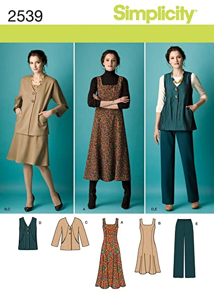 b507c9072ca5 Amazon.com  Simplicity Pattern 2539 Womens Jumper in 2 Lengths ...