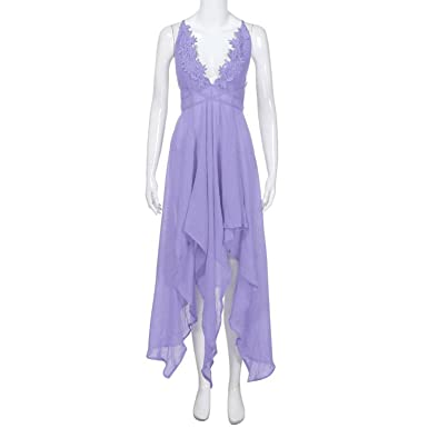 Lovely-Shop Boho Women Sexy Strappy V Neck Lace Long Evening Party Casual Beach Dress