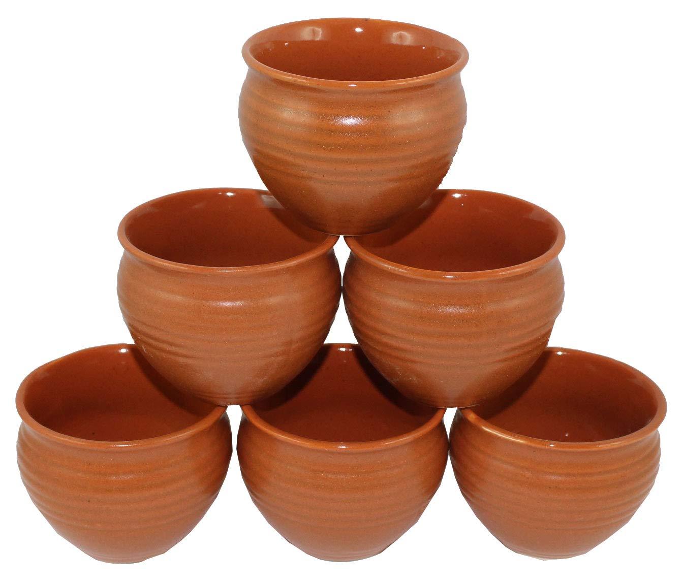 4.0 oz Odishabazaar Ceramic 6 Pc Kulhar Kulhad Cups Traditional Indian Chai Tea Cup Set of 6