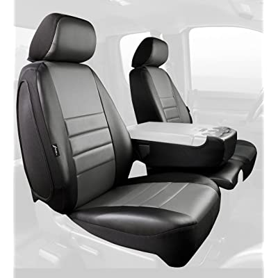 Fia SL68-31 GRAY Custom Fit Front Seat Cover Split Seat 40/20/40 - Leatherette (Black w/Gray Center Panel): Automotive