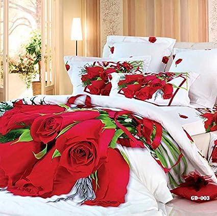 3D blanco bg rosa roja juego de cama 4567 piezas sábana bajera ajustable (de goma alrededor ...
