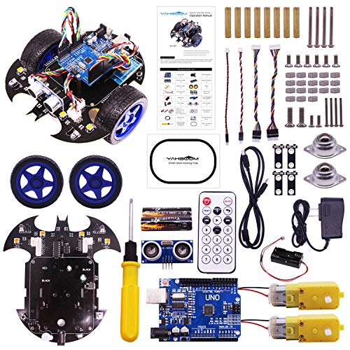 Yahboom-maker Robotics Starter Learning Building Kits Robot Car Kit for Arduino UNO R3 Scratch 3.0 Bat Smart Robots Toy for Programmable STEM Educational Toys with Tutorial for Kids 8+ and Adults (Best Arduino Robot Kit)