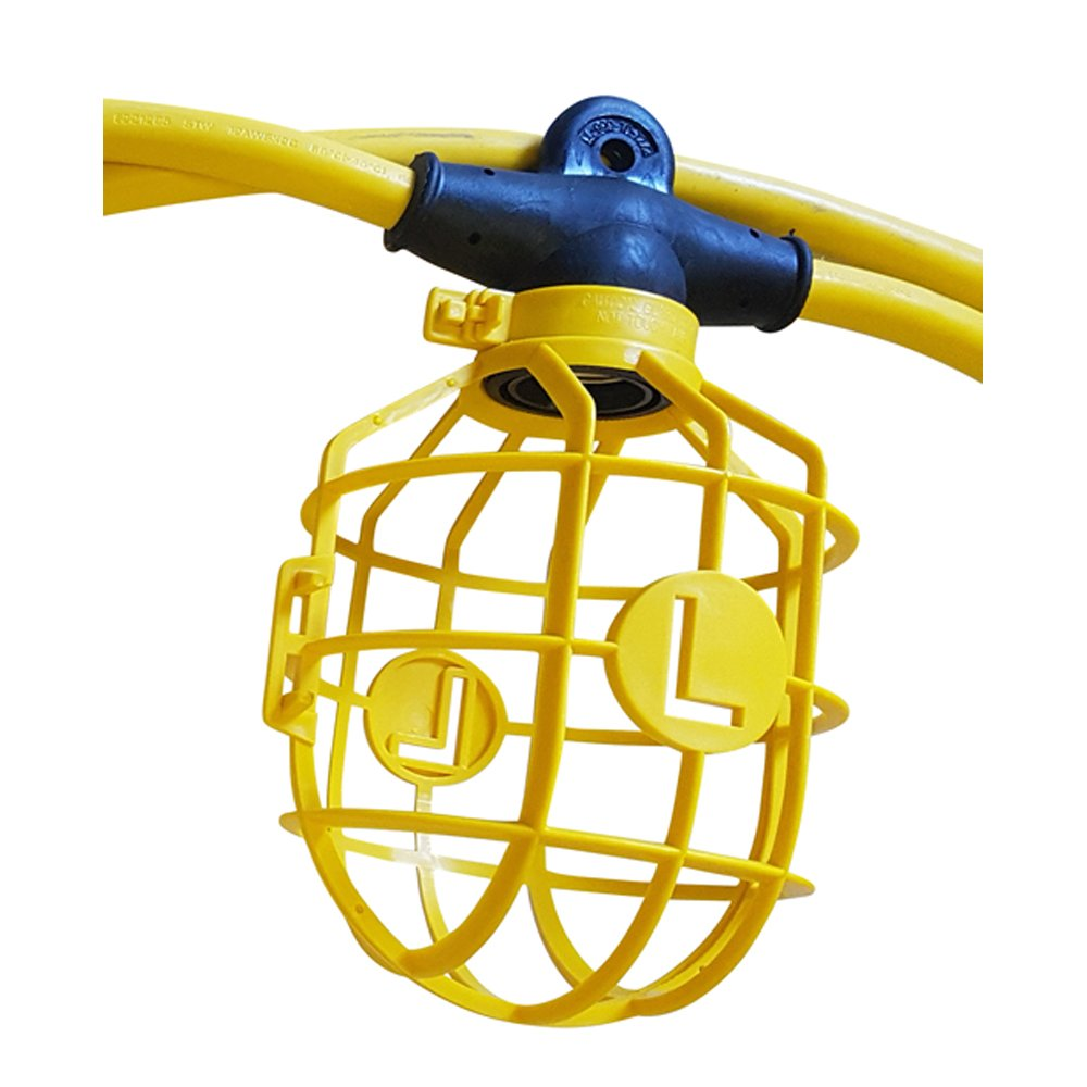 Lind Equipment TLS-100CG14 Contractor-Grade Stringlight, 100ft 14/2 SJTW Cable, 10 Sockets, Plastic Guards. UL Approved.