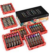 Arteza Metallic Acrylic Paint, Set of 36 Colors, 0.74 oz/22 ml Tubes with Storage Box, Rich Pigme...