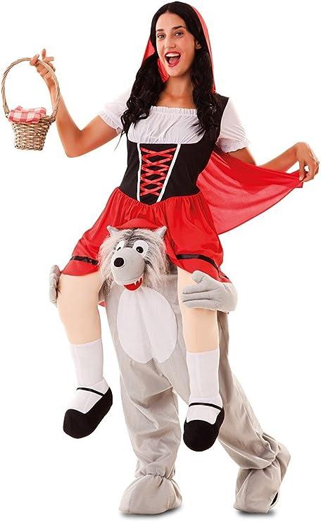 Disfraz de Caperucita Roja a hombros de Lobo para adultos: Amazon ...