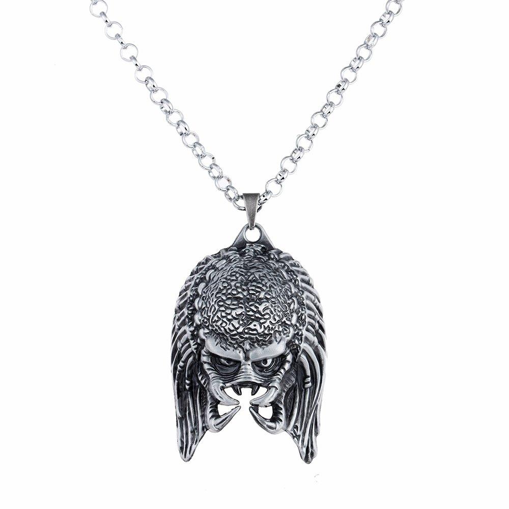 Lureme Antique Silver Alien vs. Predator 3D Mask Pendant Necklace (nl005364)