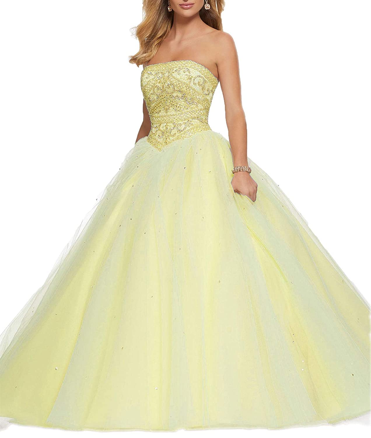 Yellow Wanshaqin Women's Off Shoulder HandBeaded Ball Gown Wedding Dresses LaceUp Plus Size for Brides