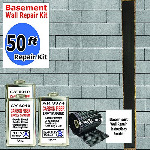 (50 ft-Carbon Fiber-Basement Wall Crack Repair Kit)