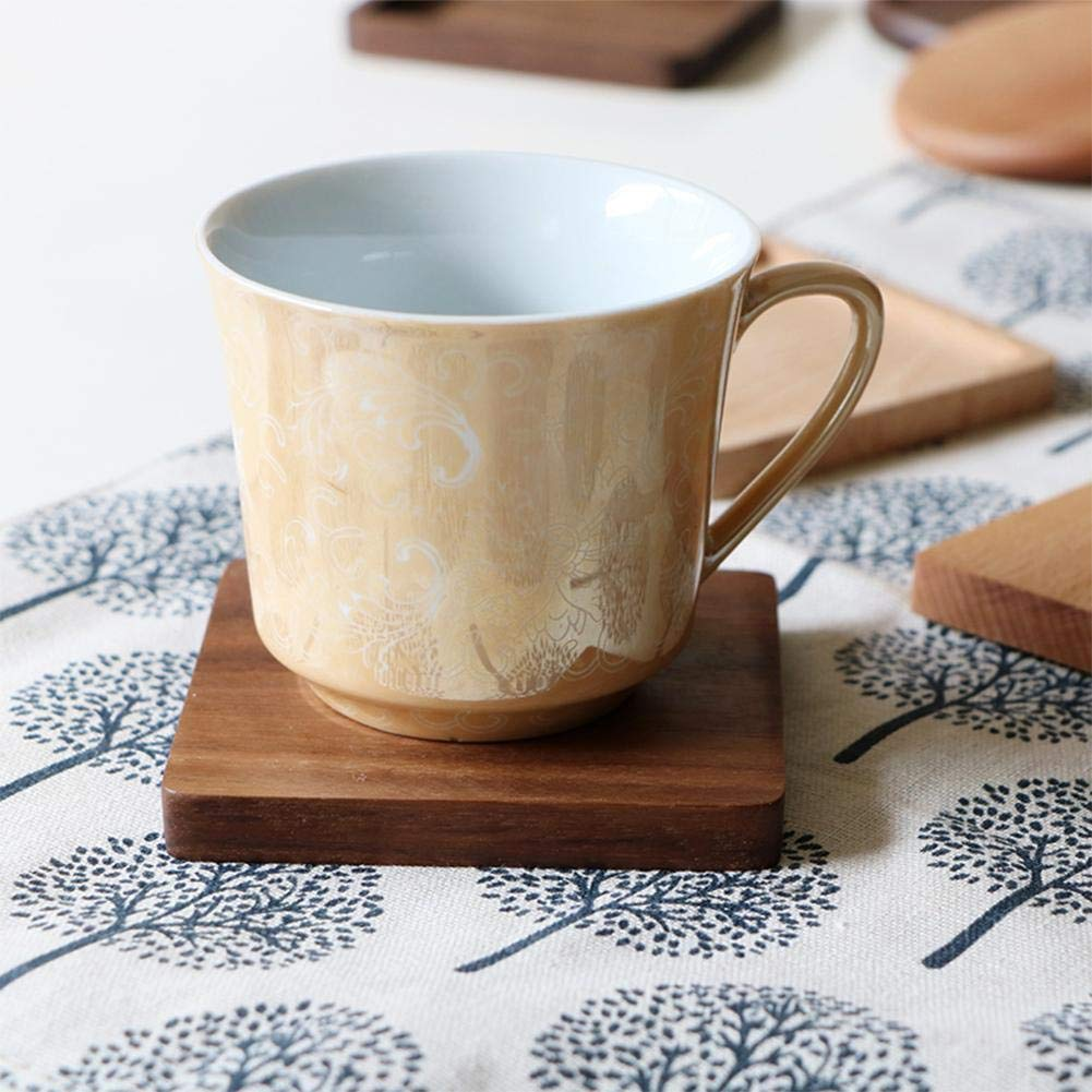 Shantan Heat Insulation Wooden Tea Coffee Cup 5pcs Coaster Ceremony Accessories Decor Walnut Square Thickening Placemat Coasters Holder Mat Pads for Drinks Beech Bowl Set Kitchen Pot Table Dish Trays