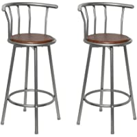 Festnight Bar Stools High Stool Kitchen Dining Chair 2 PCS Brown Steel