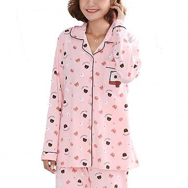 Cardigan Pajamas Suit Pyjamas Women Sleepwear Warm Pajamas Womens Pajamas Home Suit Pyjama Femme Pink M