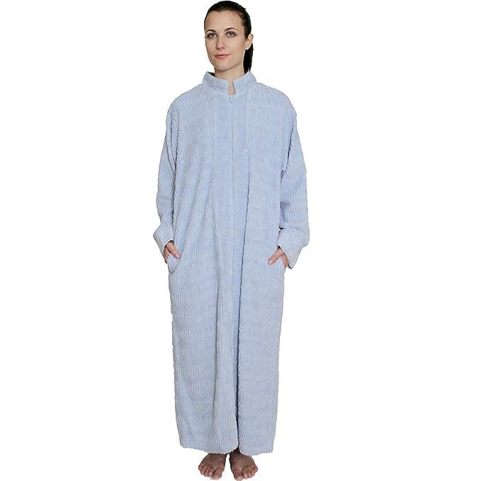 9ab24df00e NDK New York Women s Zipper Front Chenille Bathrobe 100% cotton Length 52  inches  Amazon.ca  Clothing   Accessories