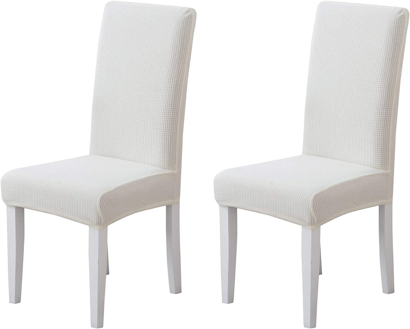 Pack of 2 - Dining Room Chair Slipcovers, Stretch Spandex Dining Chair Covers, Furniture Protector Covers Removable & Washable, Perfect for Dining Room, Restaurant, Hotel, Ceremony, Event White