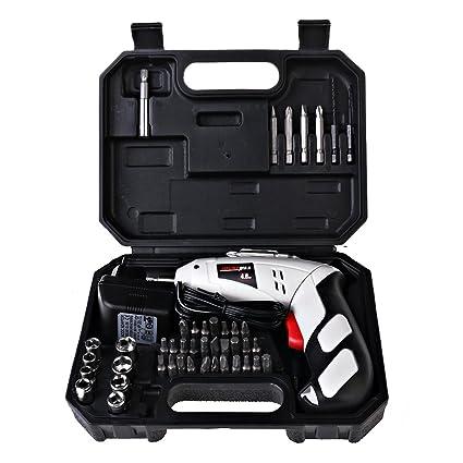 Portátil Batería de atornillador, 45 puntas Taladro atornillador ...