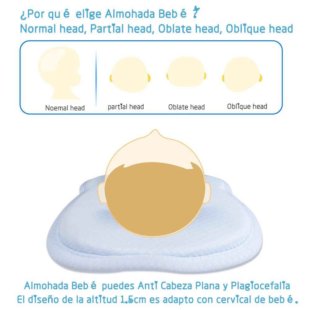 Almohada Bebé para Plagiocefalia con Funda Lavable Miacoco Almohada para Bebé Recien Nacido 0~12 Meses para Prevenir la Plagiocefalia y Cabeza Plana ...